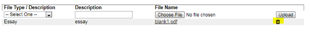 Removing documents screen shot